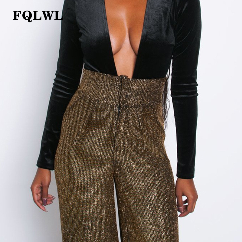 FQLWL Glitter Stretch   Wide     Leg     Pants   Women Zipper Elastic High Waist Flare   Pants   Female Spring Ladies Loose Sexy   Pants   2019