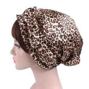 Image 3 - New Style Women Hats Floral Turban Hat Cap Muslims Cap Flower Bonnet Beanie Arab Amira Headwear Satin Turban Islamic Bow Cap New
