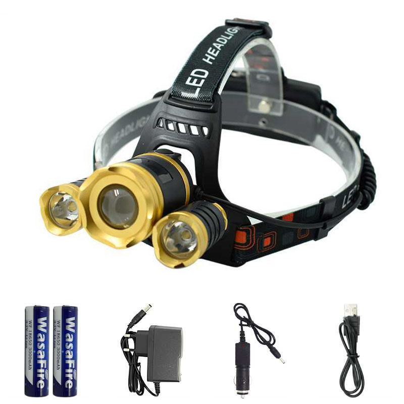 Head Lamp 3 LED 18650 Rechargeable T6 Led Headlamp Head Flashlight Zoom 4 Modes Head Torch Lamp Light Portable Outdoor Lighting