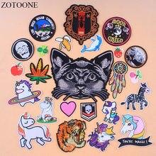 b6ed319544b ZOTOONE Cartoon Eenhoorn Kat Patch Jeans Ijzer Op Tijger Patches Voor  Kleding Rugzak Applique Geborduurd Blad