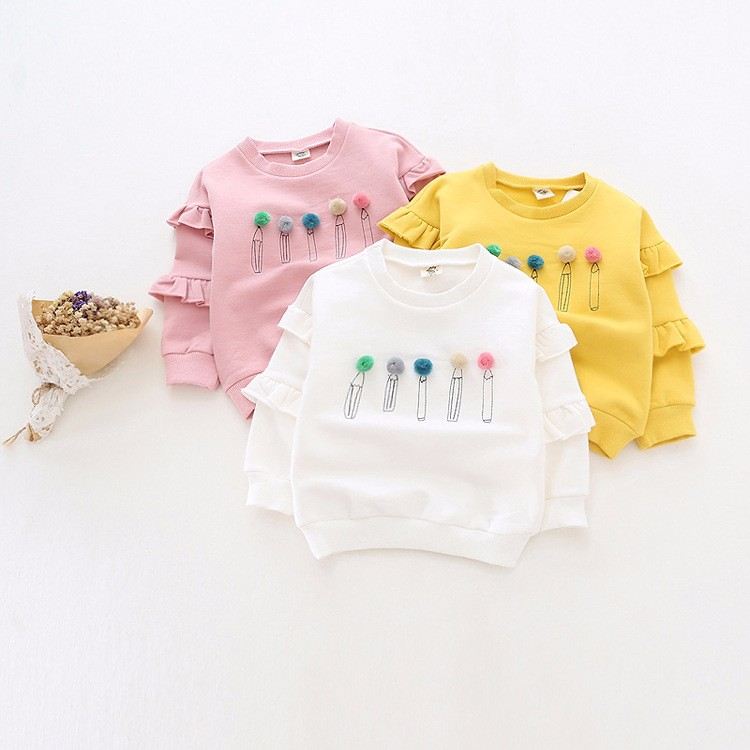 baby girl autumn fleece colorful fur balls pencil printed hoodies sweatshirt (2)