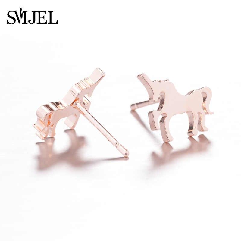 SMJEL อินเทรนด์นกสตั๊ดต่างหูสแตนเลส Origami Crane เครื่องประดับแมวสุนัขต่างหูเจาะของขวัญ Bijoux เครื่องประดับ Boho