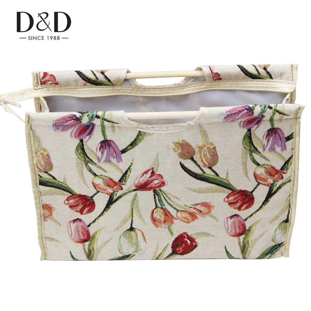 New 2 Designs Handmade Knitting Needles Storage Bag Wooden Handle Fabric Craft Knitting Tote Bag Organizer