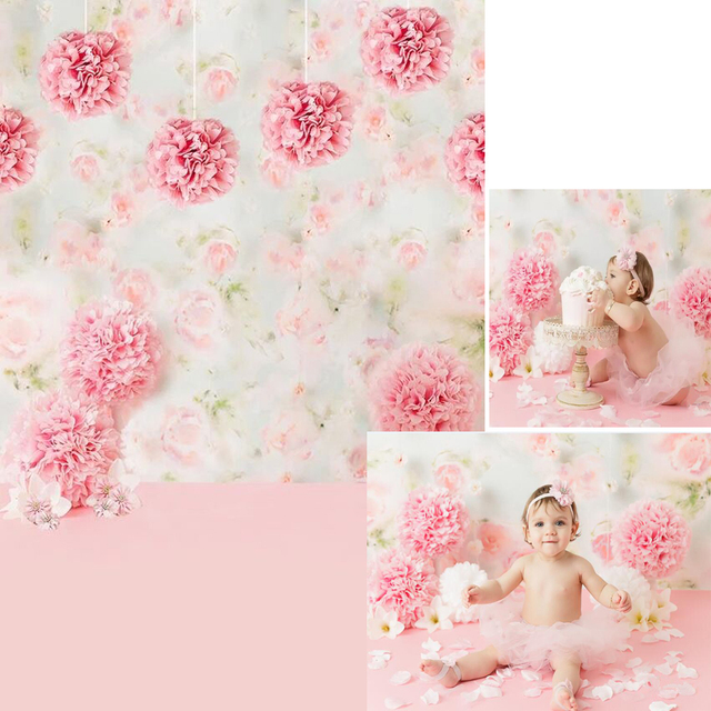 Digital Printed Pink Paper Flowers Baby Girl Photography Backdrop Newborn Photoshoot Props Kids Birthday Party Photo Background