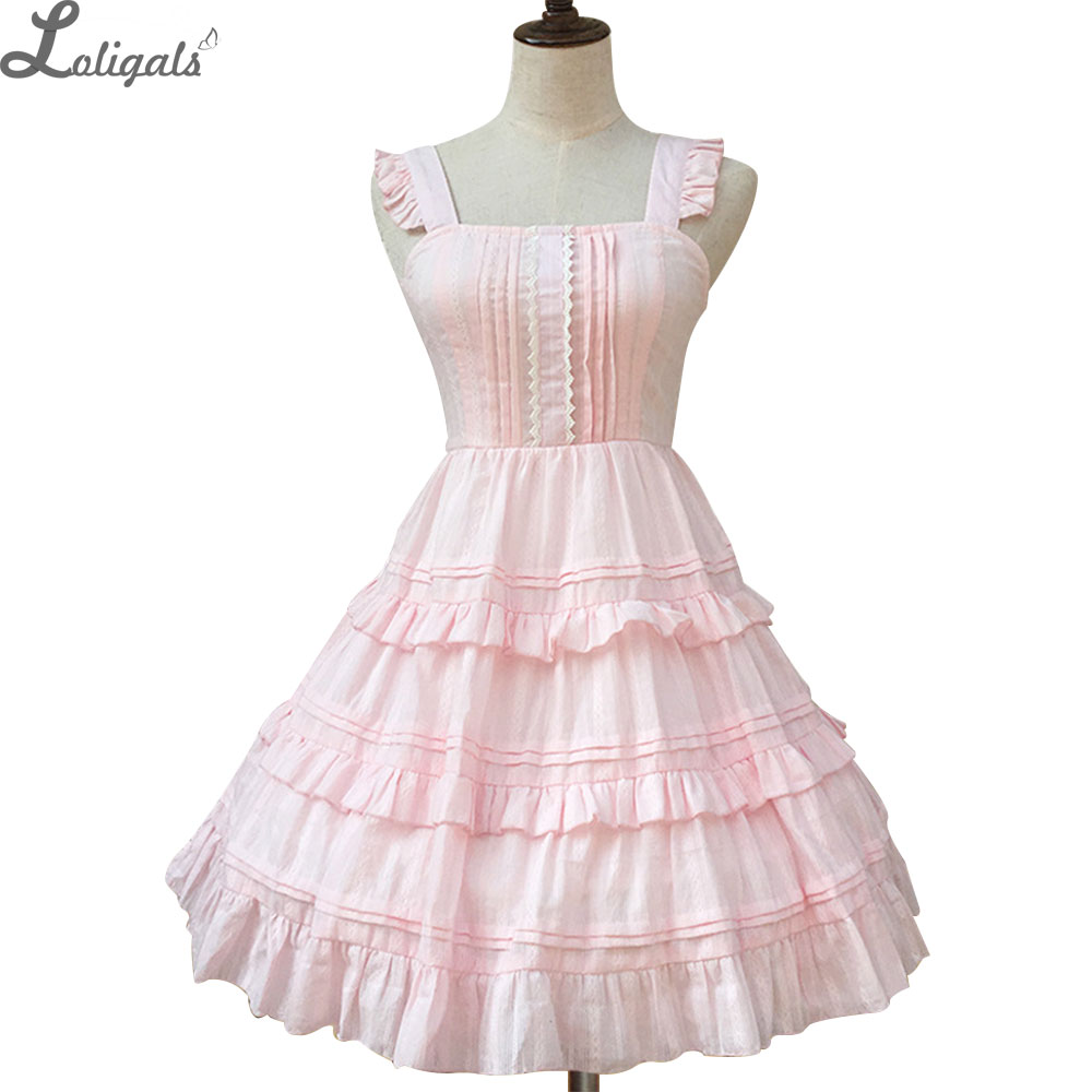 Sweet Cotton Lolita JSK Dress Sleeveless Short Summer Dress Pink/White Ruffled Cute Casual Dress