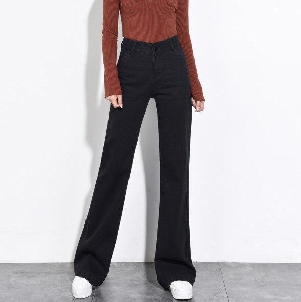 Female Wide Leg Jeans Women High Waist Casual Black Denim Pants Plus Size 4XL 5XL 6XL Womens Bell Bottom Trouser Boot Cut Jeans