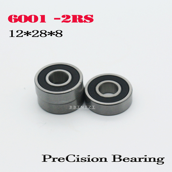 6001-2RS Bearing ABEC-5 12x28x8 mm Sealed Deep Groove 6001 2RS Ball Bearings 6001RS 180101 RS (10PCS) image