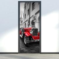 2Pcs Set Creative Door Wall Stickers Bedroom Home Decoration Car Poster PVC Waterproof Door Stickers Imitation