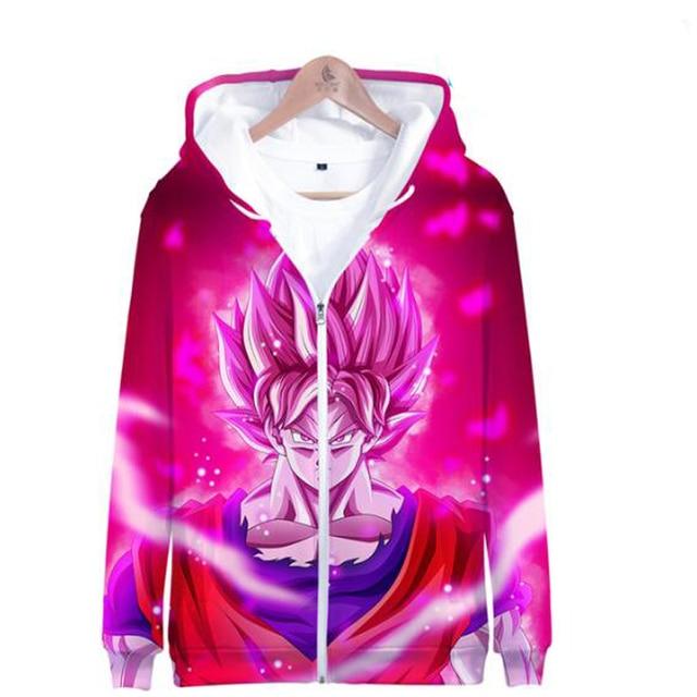 Men Zip Up Hoodies Dragon Ball Z Super Outerwear Jacket 3D Vegeta Kid Goku Cosplay Anime Hooded Cosplay Zipper Sweatshirt Coats
