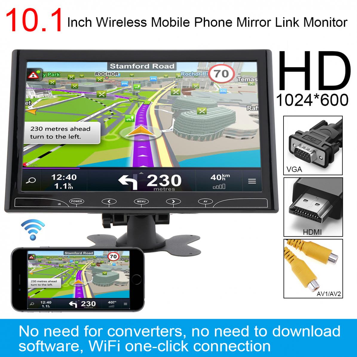10.1 Inch HD IPS 1024*600 TFT LCD Multifunction Car Monitor support HDMI / VGA / AV / Wireless Mobile Phone Mirror Link цена 2017