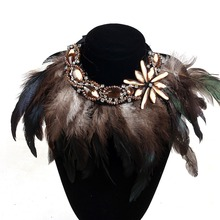 NEW Maxi Bohemian Necklace Crystal Beads Feather Choker Collares Necklaces & Pendants Collier Necklace Women