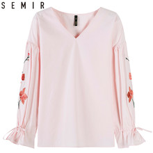 SEMIR Shirts women Floral printed spring blouse 2019 Shirts v-neck chic Fashion flared Sleeve Cotton top Shirts clothing(China)