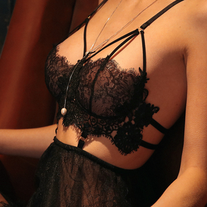 Image 3 - Summer Sexy Lingerie  Female Eyelashes Lace Perspective Temptation Straps Nightdress Embroidery Hollow Sexy Lingerie For Women