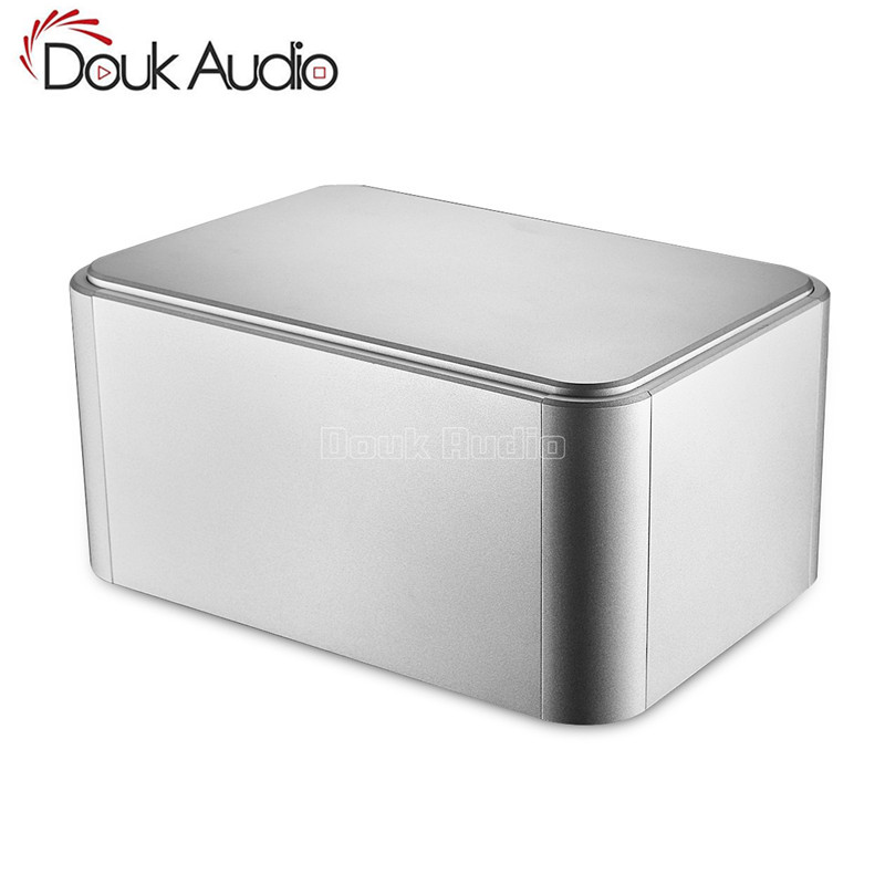 Nobsound Rounded Aluminum Enclosure Amplifier Chassis Power Supply Case PSU Box Silver nobsound hi end audio noise power filter ac line conditioner power purifier universal sockets full aluminum chassis