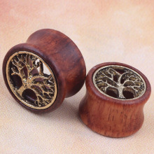 1pcs tree of life hollow red wood ear gauges piercing tunnels and plugs on ear body
