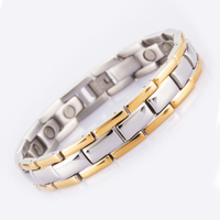 Drop Shipping Health Bio Elements Energy Magnetic Bracelet Men Golden Chain Link 316L Stainless Steel Bracelets