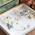 New European Baroque Royal Blue Brides Hairbands Rhinestone Bridal Tiara Headpieces Evening Hair Accessories