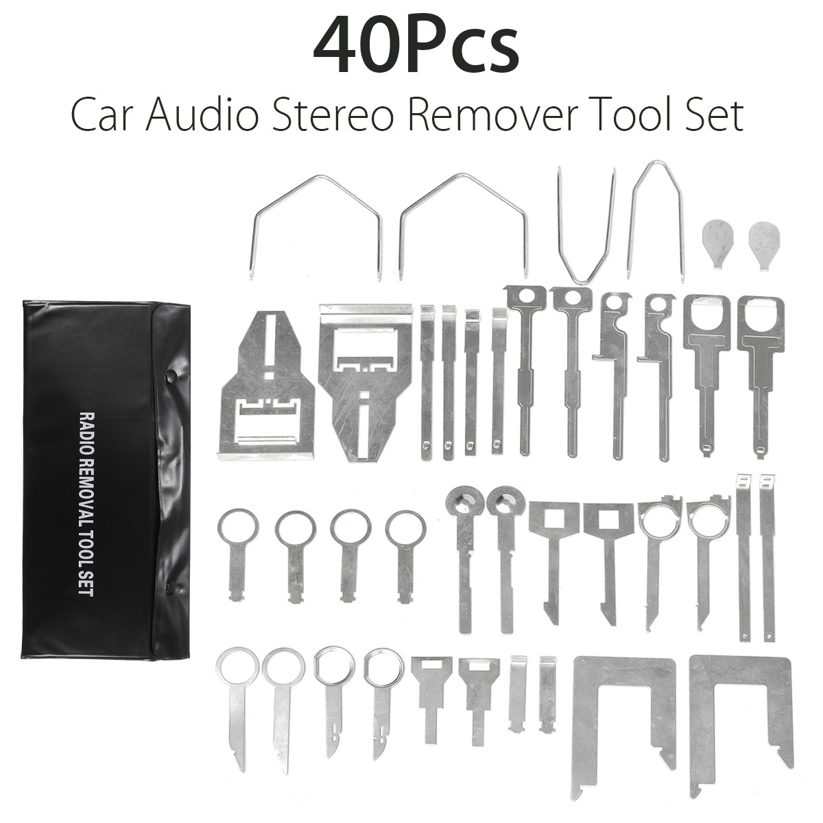 40Pcs Car Stereo Installation Metal Pickup font b Interior b font Panel Open Pry Radio Tools