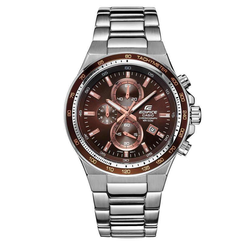 Reloj Casio para hombre, correa de acero de tres ojos, cien metros, reloj de cuarzo resistente al agua para hombre, correa de acero de placa marrón, EF-546D-5A