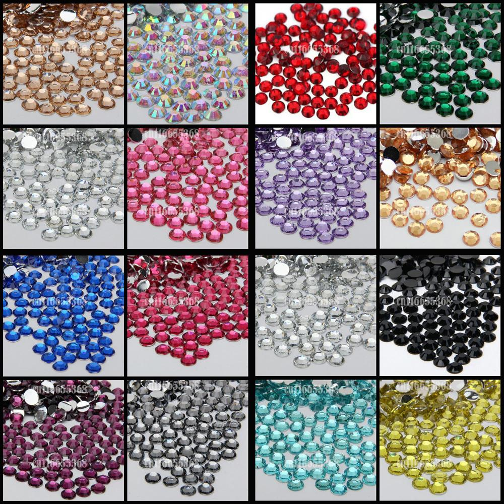 10000 pcs 6mm 6.5mm Shiny Resin Rhinestone 14 Facets Gem Flat Back Crystal Beads DIY Beauty Nail Art Phone Case 12 facets of a crystal