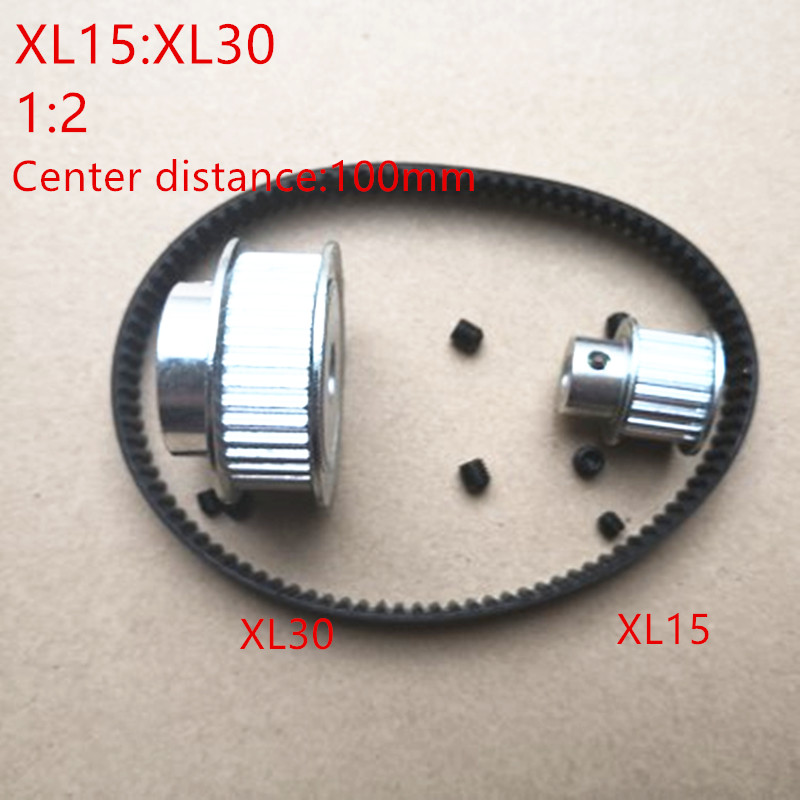 1 pair Timing Pulley XL Reduction 2:1 30teeth 15teeth shaft center distance 100mm Engraving machine accessories - belt gear kit1 pair Timing Pulley XL Reduction 2:1 30teeth 15teeth shaft center distance 100mm Engraving machine accessories - belt gear kit