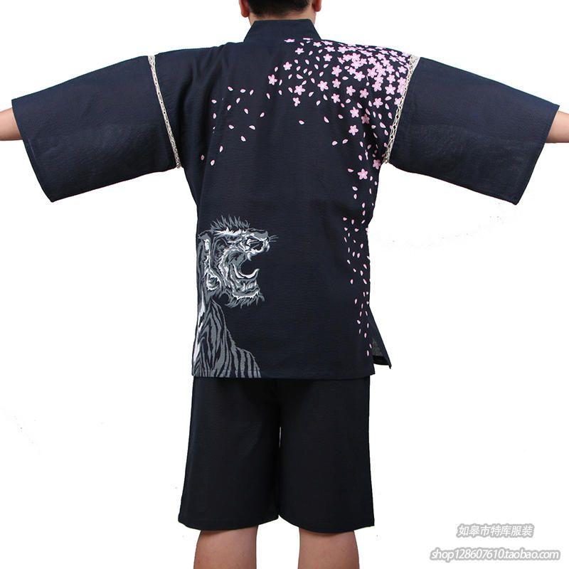 Men 100% Cotton Yukata Kimono Suit Men Japanese Traditional Pajamas Set Summer Japanese Style Bathrobe With Shorts 050401 Fast Color Underwear & Sleepwears Men's Pajama Sets