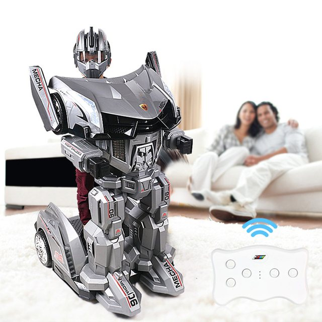 LEORY RC Manned Cyclic Charging Humanoid Robot Toy Car Transformer Movable With LED Headlights For Amusement Park Kids Children