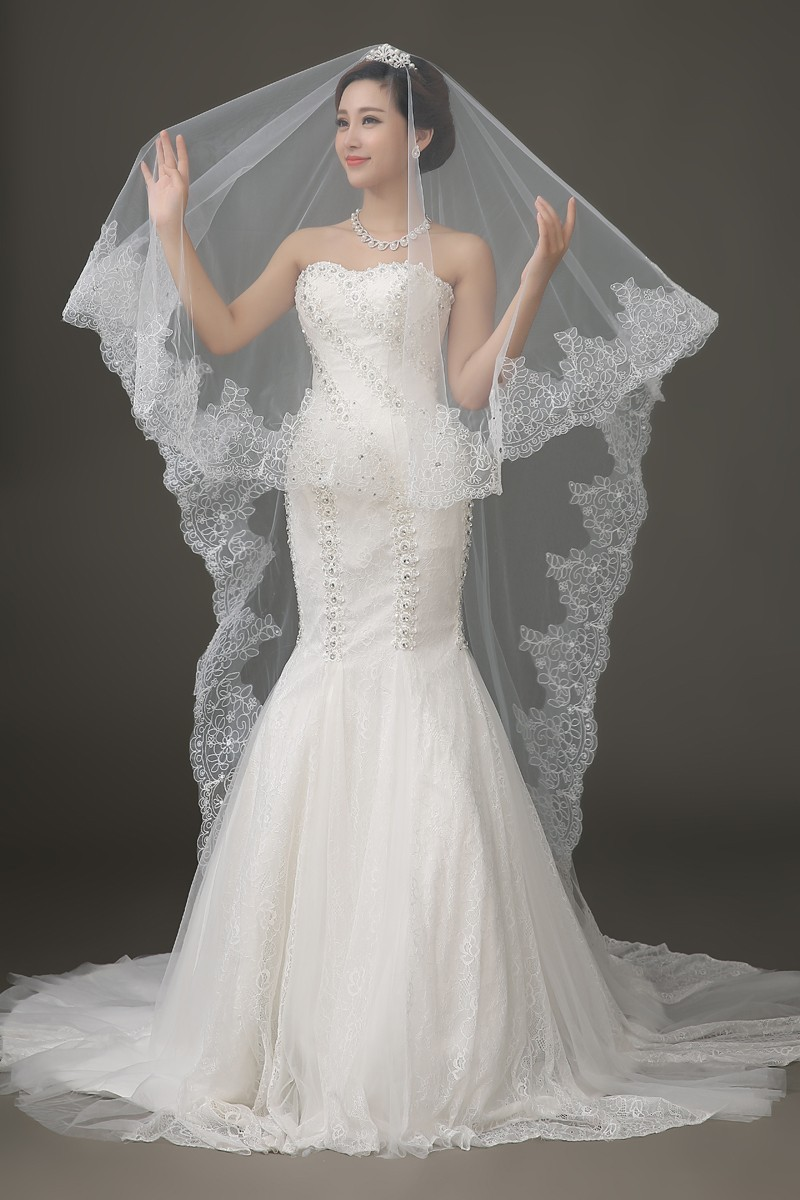 Lace Edge Long Wedding Veil 1