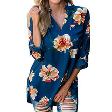 2017 New Floral Print Blouses Autumn Blouses Female Long Shirts Women Casual V Neck Loose Blouses Oversized Femme Blusas GV955