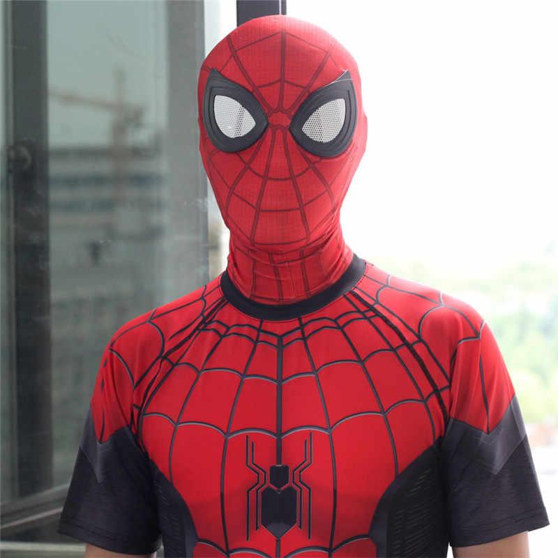 Keren Spider-Man Jauh dari Rumah Topeng Cosplay Spiderman 3D Digital Hiasan Kepala Balaclava Wajah Penuh Alat Peraga dengan 3D mata Halloween