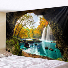 Beautiful Cave Waterfall Print Wall Hippie Tapestry Polyester Fabric Home Decor Wall Rug Carpets Hanging Big Couch Blanket forest cave print tapestry wall hanging decor