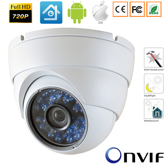 1280*720 P 1.0MP Mini Telecamera ip ONVIF Esterna Impermeabile di IR di Visione Notturna P2P 2.8mm Obiettivo Per telecamera Di Sicurezza IP Camera