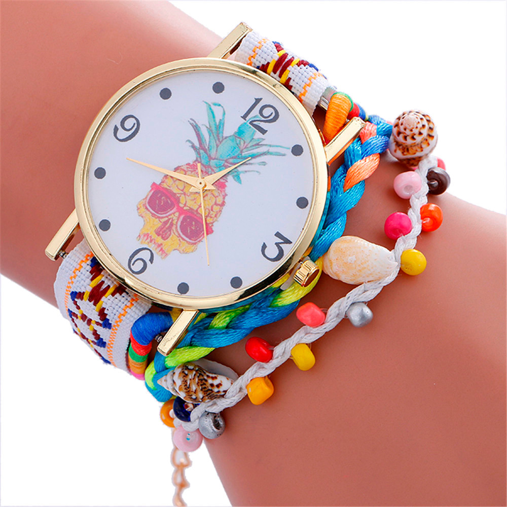 Stylish Pineapple Printing Leather Bracelet Lady Womans Wrist Watch Jewelry Vogue Luxury Female Relojes Para Mujer QuickSand B65