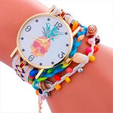 Stylish Pineapple Printing Leather Bracelet Lady Womans Wrist Watch Jew