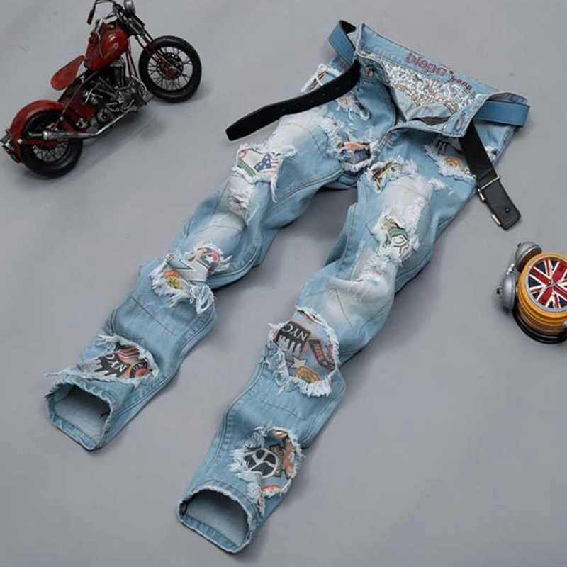 New Fashion Brand Patch Hole Distressed Jeans Mens Slim Straight Jeans Designer High Quality Badge Patchwork Biker Jeans For Men 2017 fashion patch jeans men slim straight denim jeans ripped trousers new famous brand biker jeans logo mens zipper jeans 604