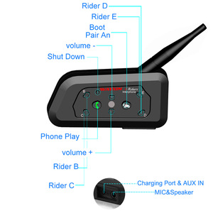 Image 3 - WAYXIN motosiklet Bluetooth interkom 2 adet kask interkom 6 Riders kadar 1200M kablosuz su geçirmez interkom kulaklık R6