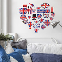 KEDODE London Patrol British Flag Wall Sticker England Style Wall Decal Room Decoration Odorless Waterproof Stickers HighQuality