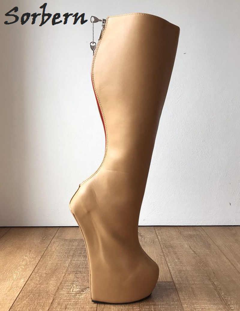 c6fcd85999 Sorbern Lockable Camel Matt Women Boots Heavy Hoof Heelless Boots Uk Custom  Wide Fit Leg Tan Booty Women Size 36 Booties