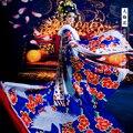 Grúas azul vestuario emperatriz vestuario juego de la espiga de Drama de televisión leyenda de Tang emperatriz Wu ventriloquía Meiniang con conjunto del cabello