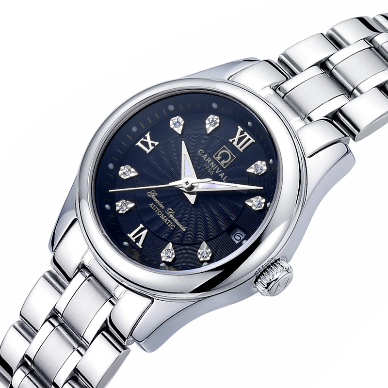 Carnival Women Watches Luxury Brand ladies Automatic Mechanical Watch Women Sapphire Waterproof relogio feminino C-8830-3 2017 carnival luxury brand mechanical watch women leather bracelet waterproof sapphire mirror stainless steel automatic watches