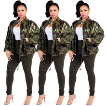 Autumn Women Long Sleeve Sequined Patchwork Camouflage Jacket Drawstring Slim  Loose Bat Female Outwear Streetwear