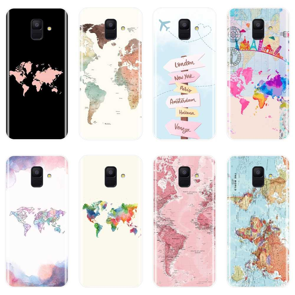 World Map Back Cover For Samsung Galaxy A3 A5 2016 2017 A6 A7 A8 2018 Soft Silicone Case For Samsung A6 A8 Plus 2018 Phone Case