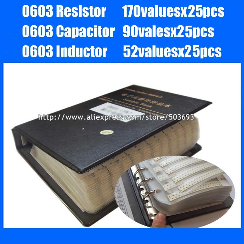 New 0603 SMD Resistor 0R~10M 1% 170valuesx25pcs + Capacitor 0.5pF~2.2uF 90valuesX25pcs + Inductor 52valuesx25pcs Sample Book