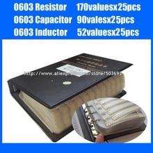 Nieuwe 0603 Weerstand 0R ~ 10 M 1% 170valuesx25pcs + Condensator 0.5pF ~ 2.2 uF 90valuesX25pcs + Inductor 52valuesx25pcs monster Boek