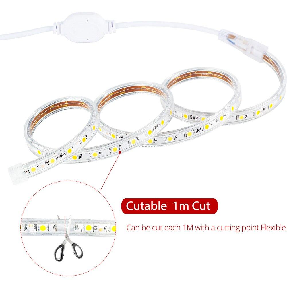 50 м рулон светодиодные полосы света 60 светодиодов/м водонепроницаемый светодиодный, неоновый свет веревки трубки можно резать гибкие полосы для внутреннее и наружное освещение Декор - 3