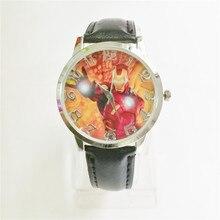 a854120944b Venda quente Crianças estudantes Relógio de Forma Homem de ferro Dos  Desenhos Animados meninos crianças Relógio
