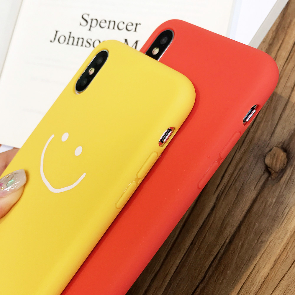 KIPX1083_4_JONSNOW Phone Case for iPhone X XR XS Max Candy Color Smiley Pattern Soft Silicone Case for iPhone 7 8 6S 6 Plus Back Cover