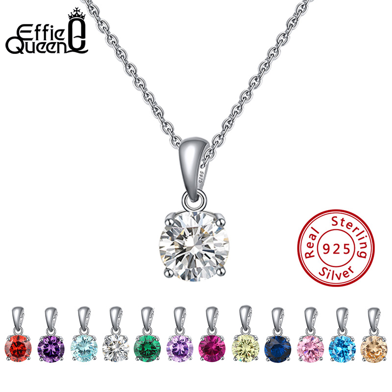 Effie Queen Real 925 Sterling Silver Pendant Necklace Lucky Birthstone Multi Color Zircons Stud Necklaces Women Jewelry BN118Effie Queen Real 925 Sterling Silver Pendant Necklace Lucky Birthstone Multi Color Zircons Stud Necklaces Women Jewelry BN118
