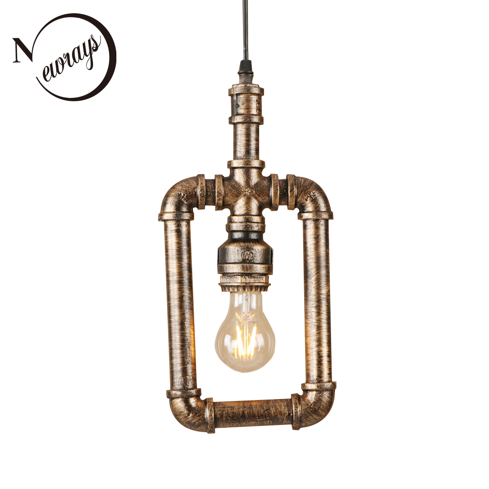 Vintage iron painted brown rust hanging lamp LED Pendant Light Fixture E27 220V For Kitchen parlor dining room bed room hallway vintage iron painted brown hanging lamp led lamp pendant light fixture e27 220v for kitchen lights parlor dining room bed room