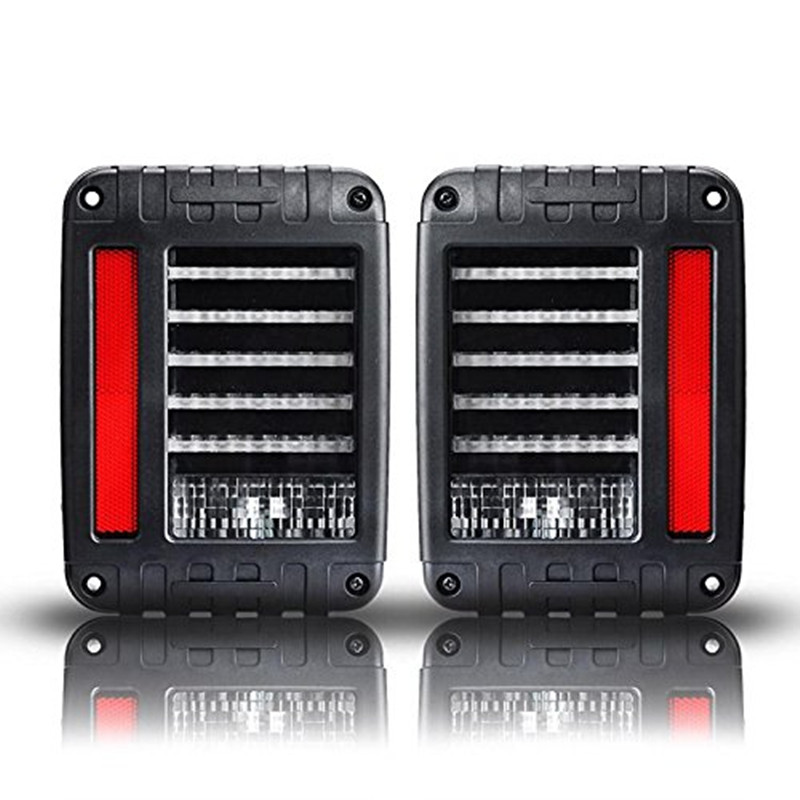 Pair Clear Lens Red LED Tail Light Assembly w/ Turn Signal & Back Up For Jeep Wrangler JK JKU 2007 - 2017 auxmart 22 led light bar 3 row 324w for jeep wrangler jk unlimited jku 07 17 straight 5d 400w led light bar mount brackets